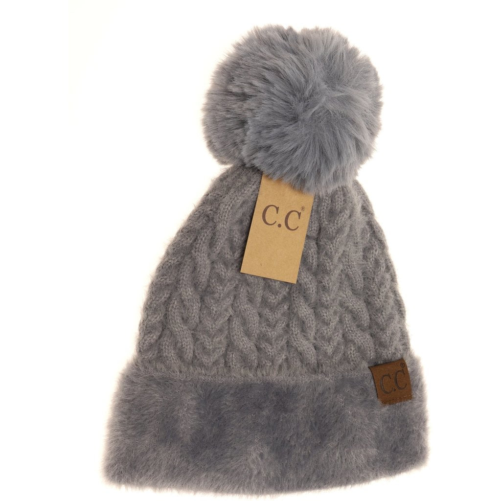 Cable Knit Faux Fur Pom and Cuff Beanie