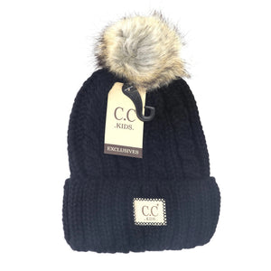 KIDS Cable Ribbed Fur Pom Beanie
