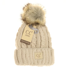 Load image into Gallery viewer, KIDS Cable Ribbed Fur Pom Beanie