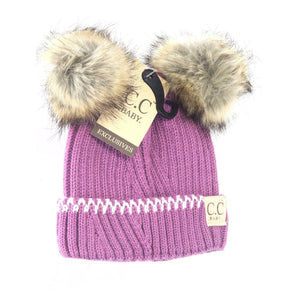 BABY SOLID KNIT DOUBLE FUR POM BEANIE