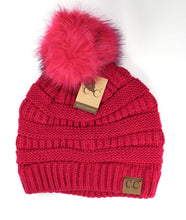 Load image into Gallery viewer, Classic Matching Fur Pom Beanie