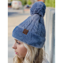 Load image into Gallery viewer, Cable Knit Faux Fur Pom and Cuff Beanie