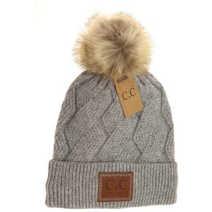 Geometric Knit Faux Fur Pom Beanie