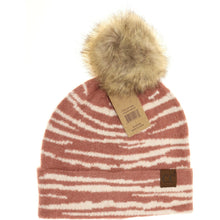 Load image into Gallery viewer, Zebra Pattern Faux Fur Pom Beanie