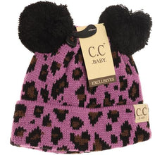 Load image into Gallery viewer, Baby Leopard Double Pom Beanie