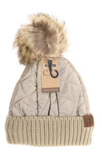 Fleece Lined Quilted Puffer CC Beanie