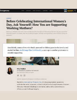 Azra Mehdi of Au Xchange in Entrepreneur.com article about supporting working mothers