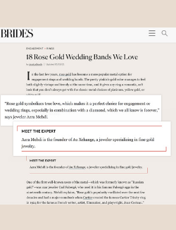 Azra Mehdi of Au Xchange in Brides.com article about rose gold rings