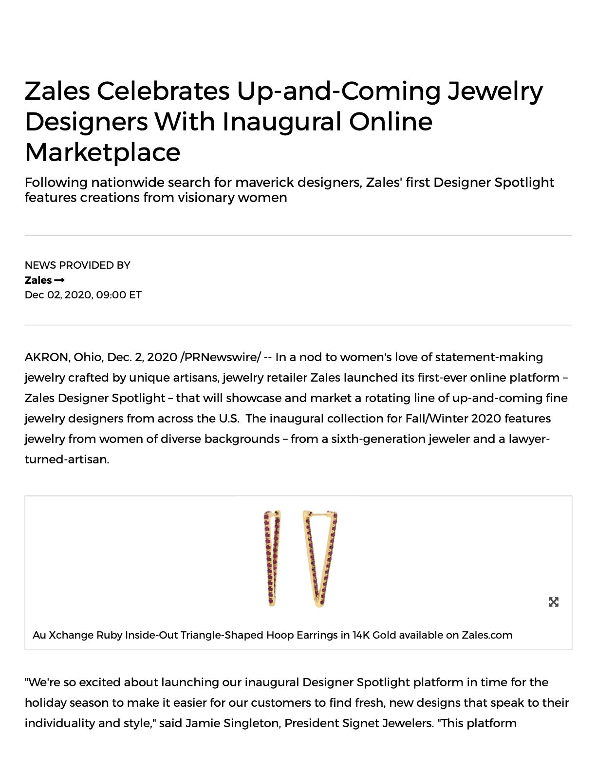 Au Xchange Selected as Up-and-Coming Jewelry Designer