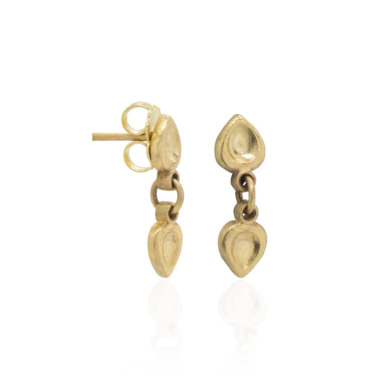14K Textured Yellow Gold Dangle Earrings Earrings