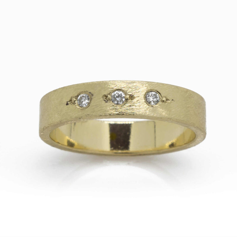 14K Textured Yellow Gold Diamond Ring Ring