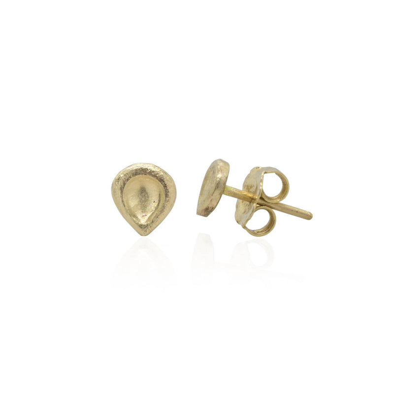 14K Textured Yellow Gold Stud Earrings