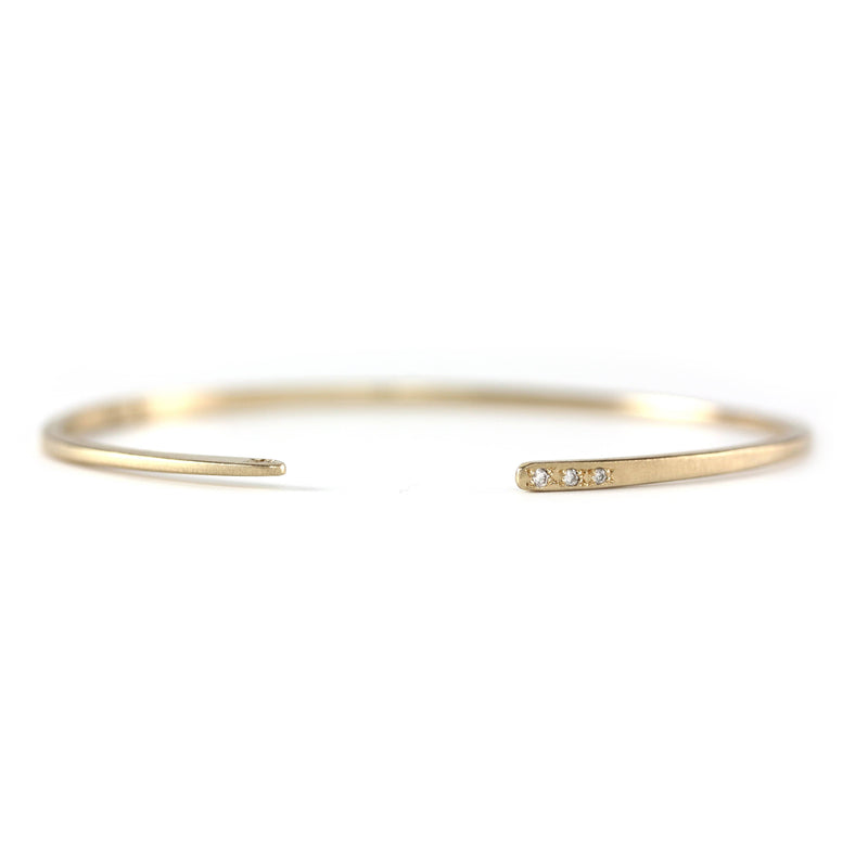 14K Yellow Gold Diamond Forged Cuff Bracelet/Cuff