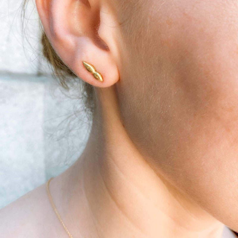18K Textured Yellow Gold Stud Earrings Earrings