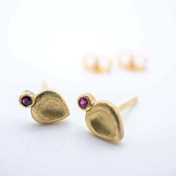18K Yellow Gold Ruby Teardrop Studs | Diane Dewey Earrings