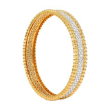 3-Row Diamond 18K Yellow Gold Bangle | AX-Custom Bracelet/Cuff