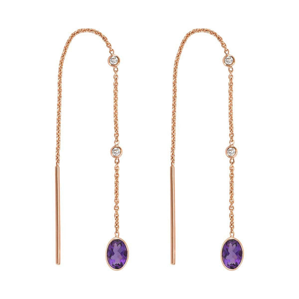 Amethyst Threader Earrings | February Earrings