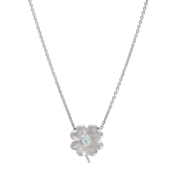 Aquamarine Birthstone Clover | March Necklace