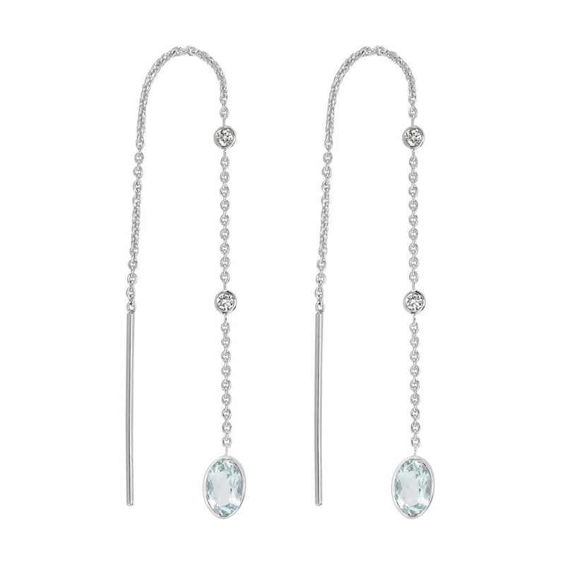 Aquamarine Threader Earrings | March Earrings