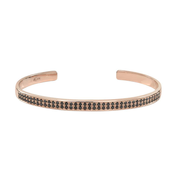 AX-Double Row Cuff | Rose Gold & Black Diamond Bracelet/Cuff