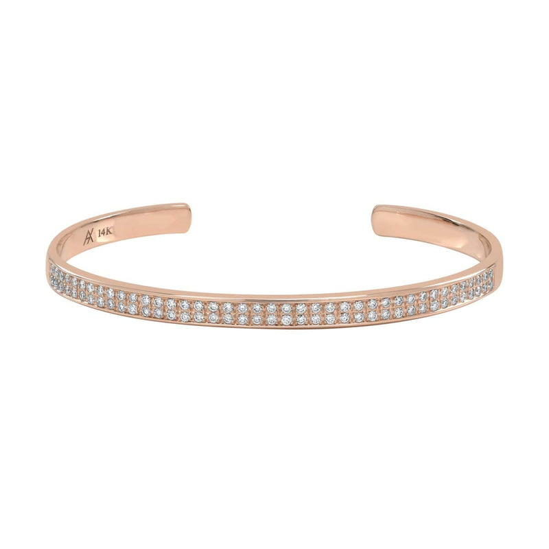 AX-Double Row Cuff | Rose Gold & Diamond Bracelet/Cuff