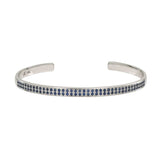 AX-Double Row Cuff | White Gold & Blue Sapphire Bracelet/Cuff