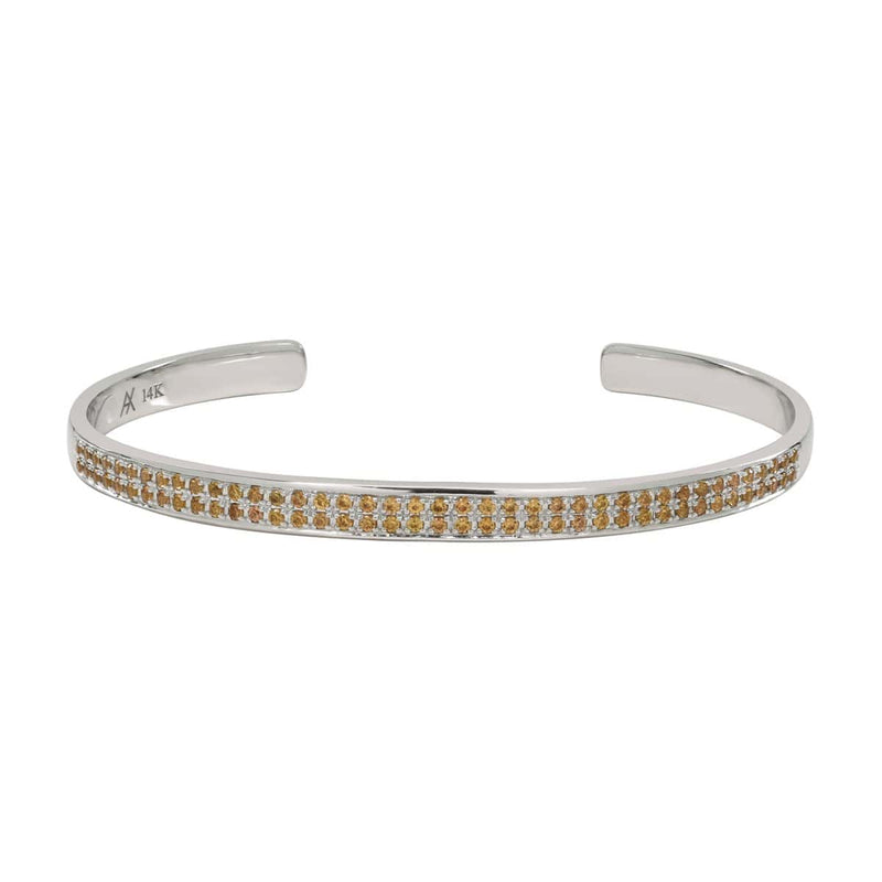 AX-Double Row Cuff | White Gold & Yellow Sapphire