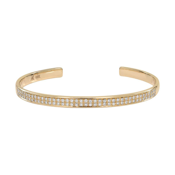 AX-Double Row Cuff | Yellow Gold & Diamond Bracelet/Cuff