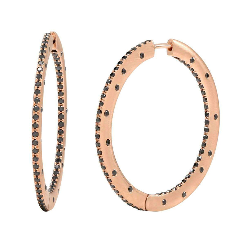AX-Fancy Hoop Earrings | Rose Gold & Black Diamonds Earrings
