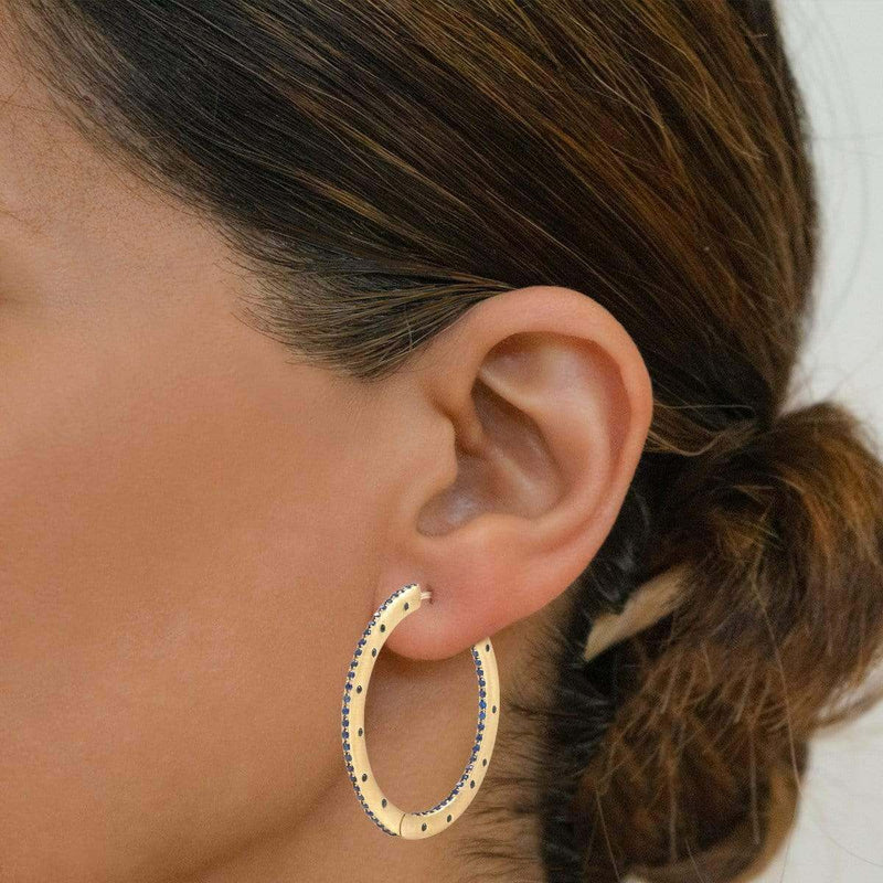 AX-Fancy Hoop Earrings | Yellow Gold & Blue Sapphire Earrings