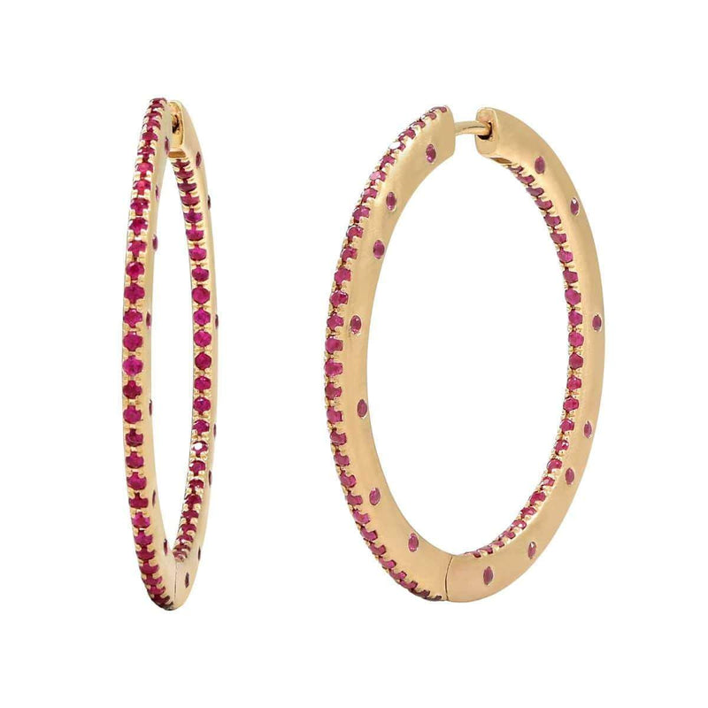 AX-Fancy Hoop Earrings | Yellow Gold & Ruby Earrings