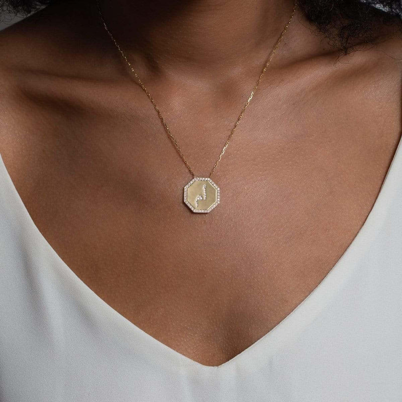 Unique Mom Necklace on model in Arabic 14K Yellow Gold, diamonds by Au Xchange