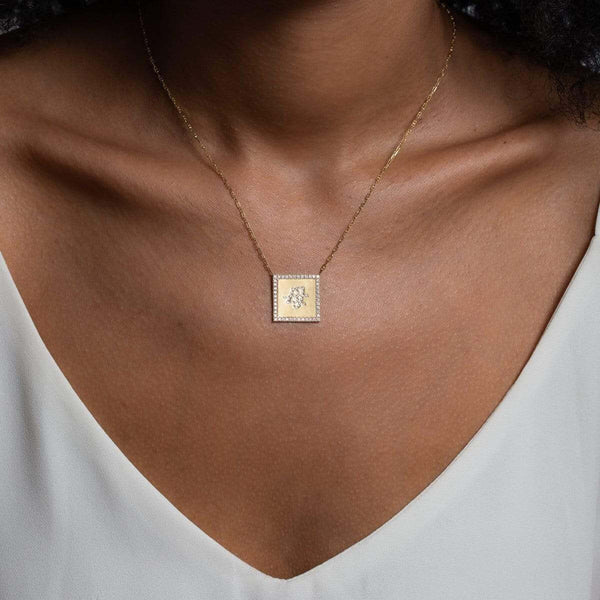 On Model Unique square Mom Necklace in Japanese 14K Yellow Gold with GVS diamonds by Au Xchange