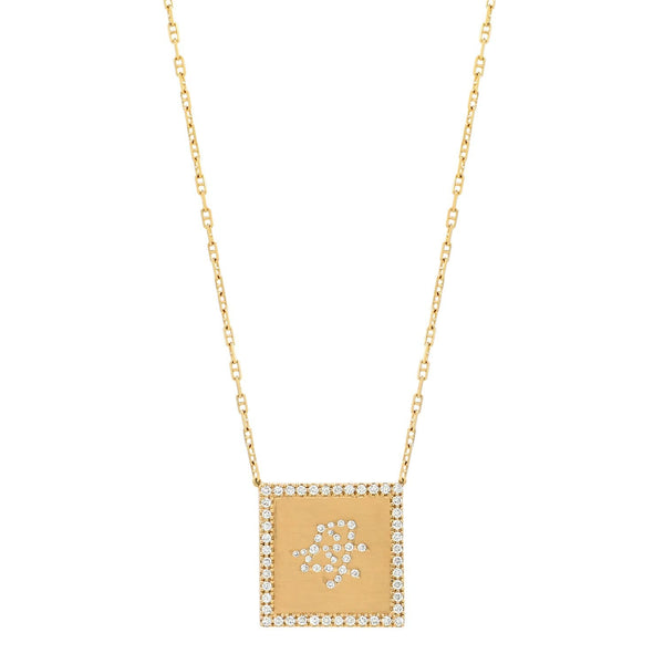 Unique square Mom Necklace in Japanese solid gold with GVS diamonds Anchor chain by Au Xchange