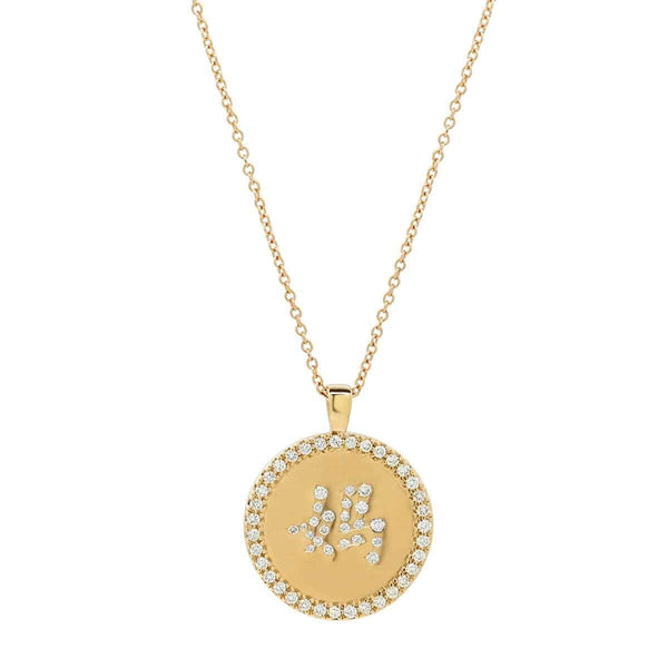 Close up Unique Mom Necklace in Chinese lettering with diamonds - pendant by Au Xchange