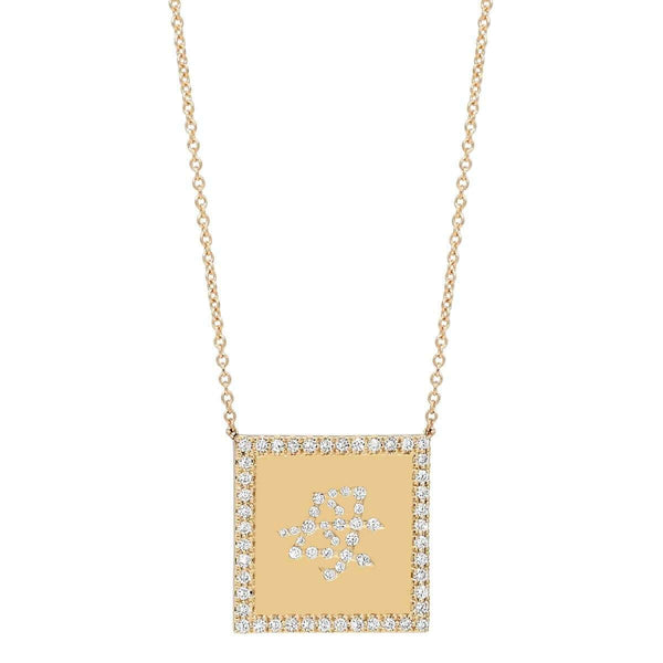Close up of unique square Mom Necklace in Japanese solid gold with GVS diamonds by Au Xchange