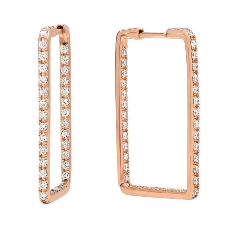 AX-Rectangle Hoop Earrings | Rose Gold & Diamond Earrings