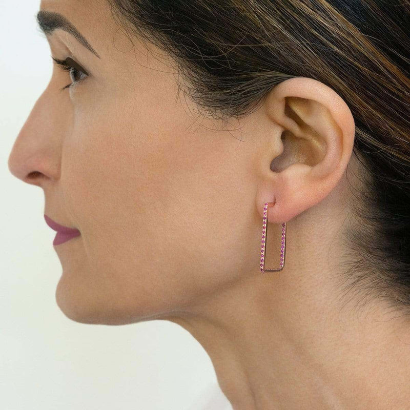 AX-Rectangle Hoop Earrings | Rose Gold & Pink Sapphire Earrings