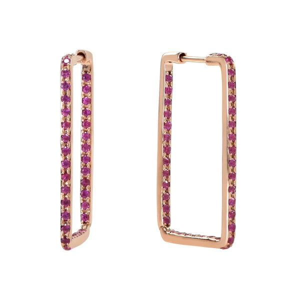 AX-Rectangle Hoop Earrings | Rose Gold & Pink Sapphire