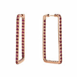 AX-Rectangle Hoop Earrings | Rose Gold & Ruby Earrings