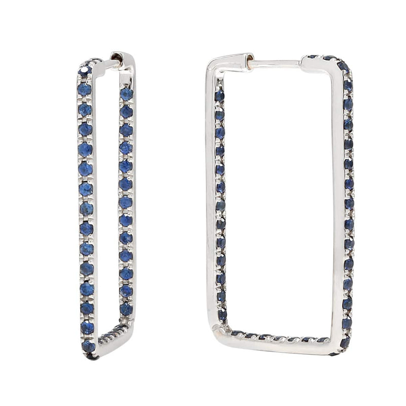AX-Rectangle Hoop Earrings | White Gold & Blue Sapphire Earrings