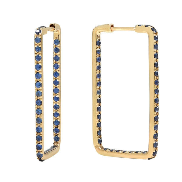 AX-Rectangle Hoop Earrings | Yellow Gold & Blue Sapphire