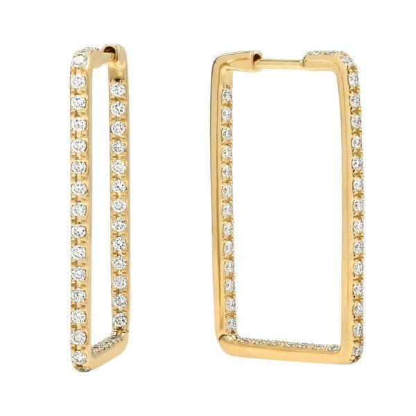 AX-Rectangle Hoop Earrings | Yellow Gold & Diamond Earrings