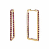 Unique Rectangle Hoop Earrings in 14K Yellow Gold & Ruby by Au Xchange