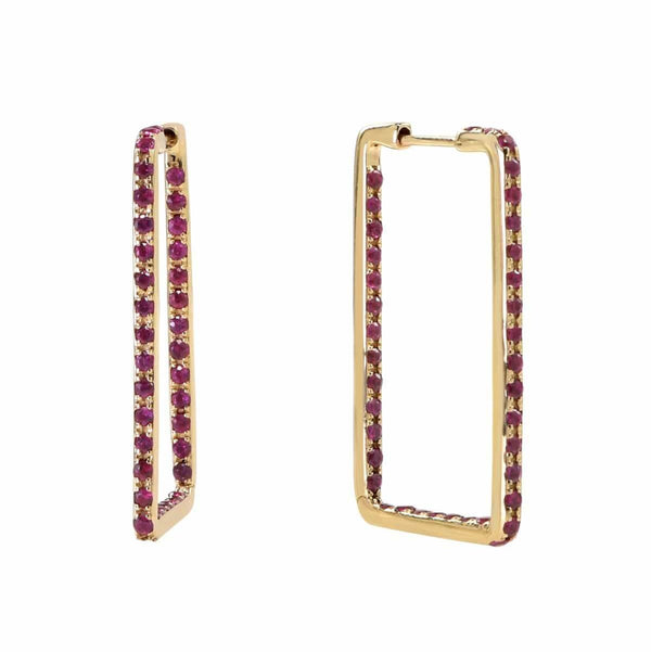 AX-Rectangle Hoop Earrings | Yellow Gold & Ruby