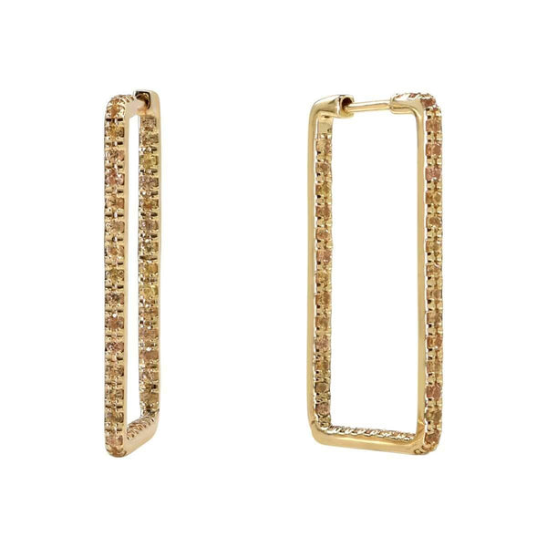 AX-Rectangle Hoop Earrings | Yellow Gold & Yellow Sapphire Earrings