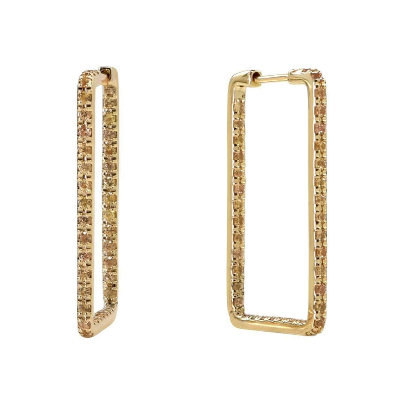 Unique Rectangle Hoop Earrings 14K Yellow Gold & Yellow Sapphire by Au Xchange