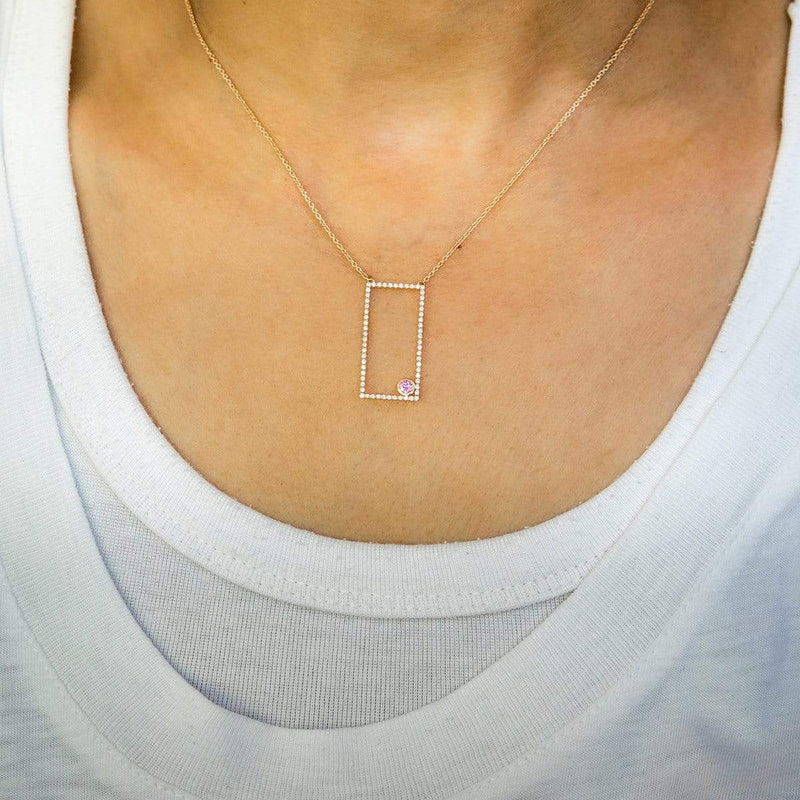 AX-Rectangle Necklace | Diamond & Pink Sapphire Bezel Necklace