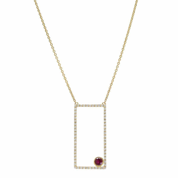 AX-Rectangle Necklace | Diamond & Ruby Bezel Necklace