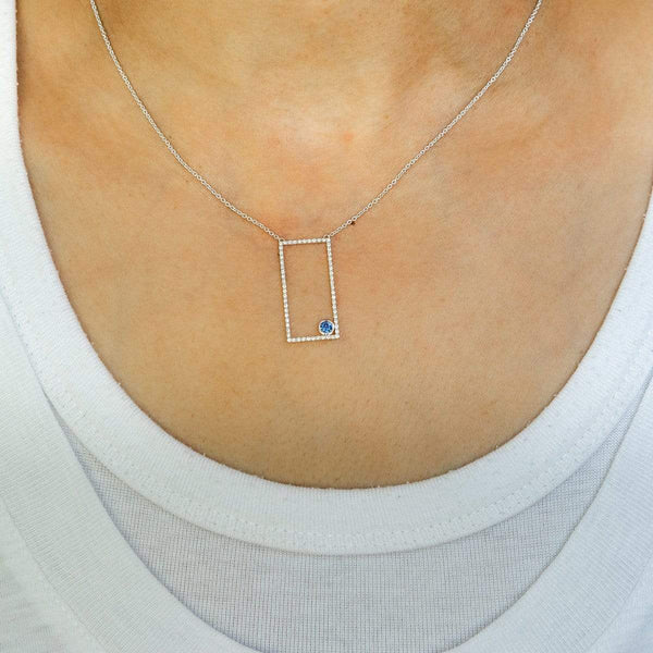 AX-Rectangle Necklace | Diamonds & Blue Sapphire Bezel Necklace